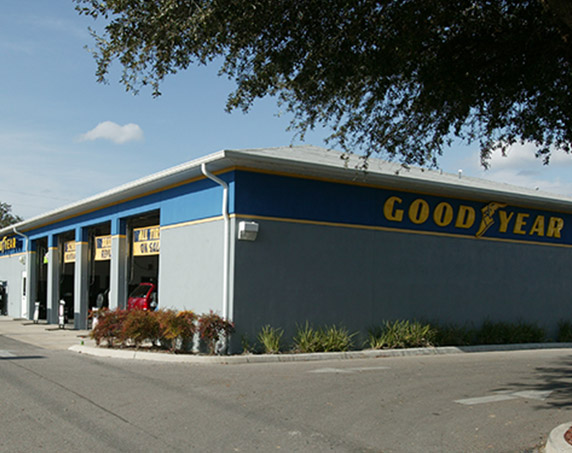 Blue building of GoodYear