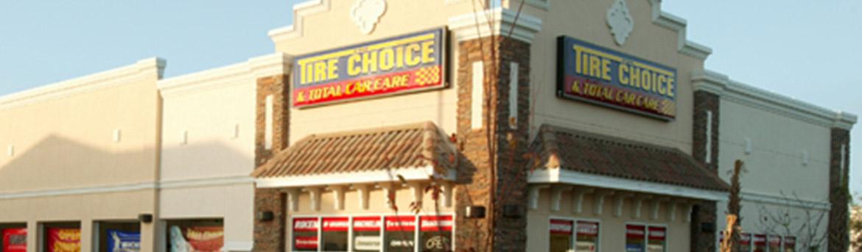 Close-up of signage at Tire Choice in Sarasota