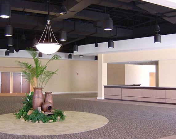 Interior lobby at First Baptist Church of Indian Rocks Beach