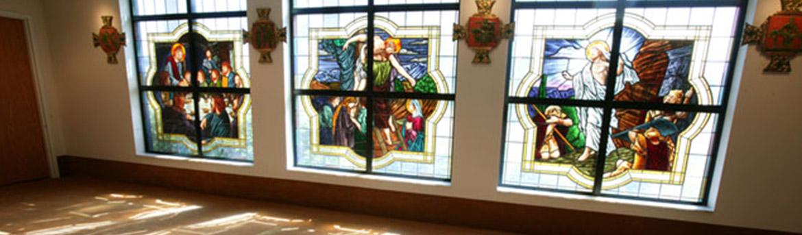 Stained glass windows at St Raphael church