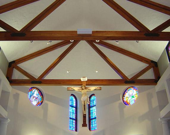Exposed beams at St Raphael Church