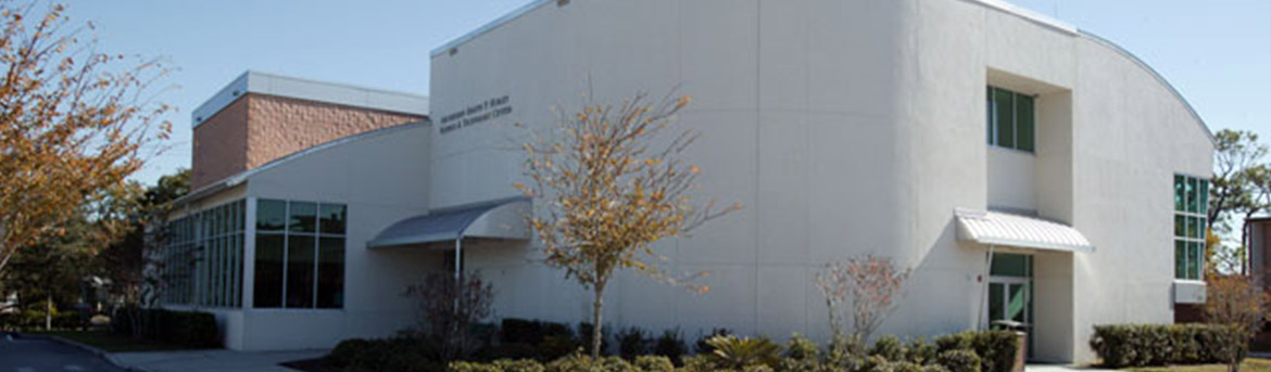 Rounded details of building at Tampa Catholic High School