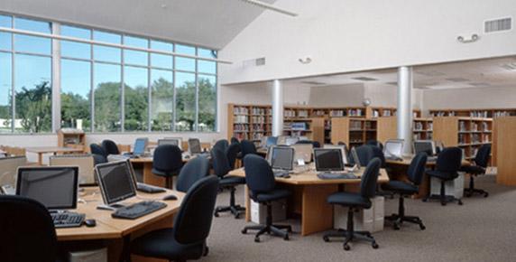 Library and computer lab at Tampa Catholic