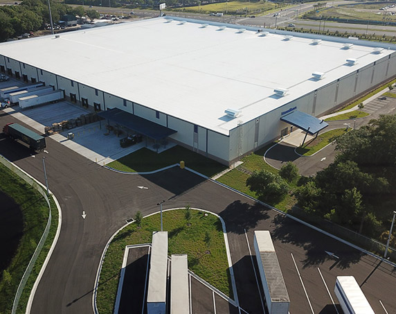 Aerial shot of exterior delivery area
