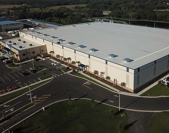 Aerial shot of exterior building