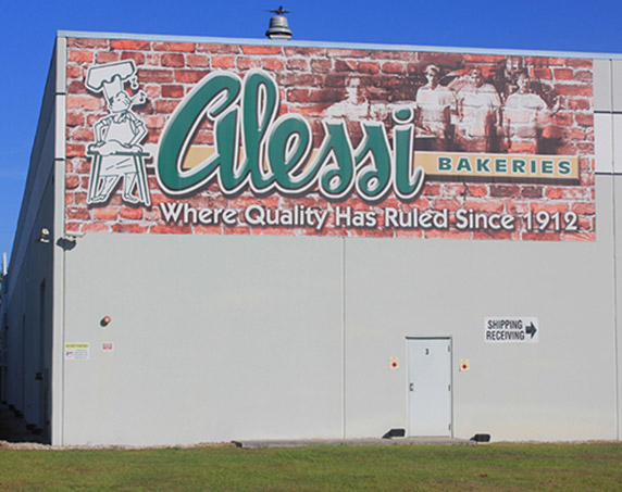 Alessi Bakery building banner