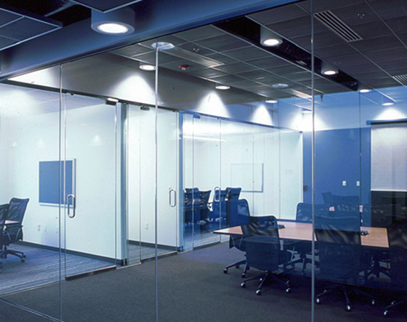 Glass conference rooms at the Emergency Services Complex