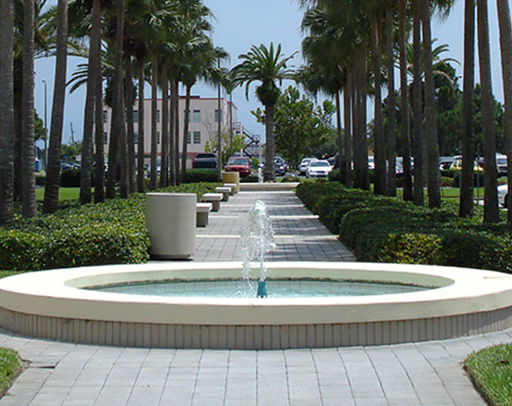 Crum patio area with water feature