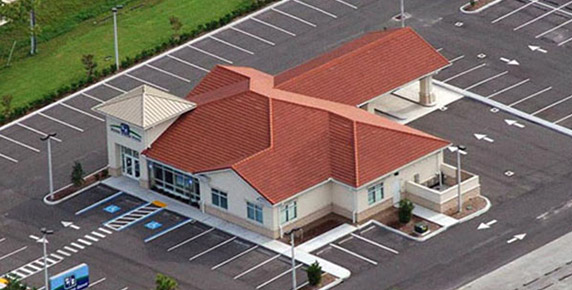 Aerial shot of Fifth Third bank with red roof