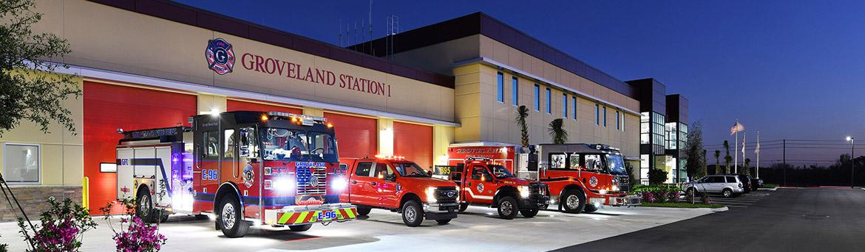 Groveland Station 1 fire trucks
