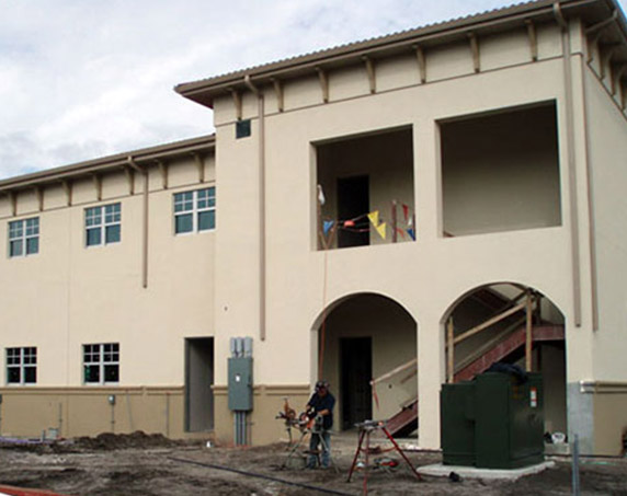 Exterior stairs under construction at St. Augustine Airport