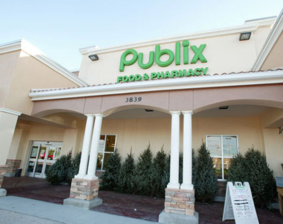 Close-up Publix storefront at Village Shops at Bellalago