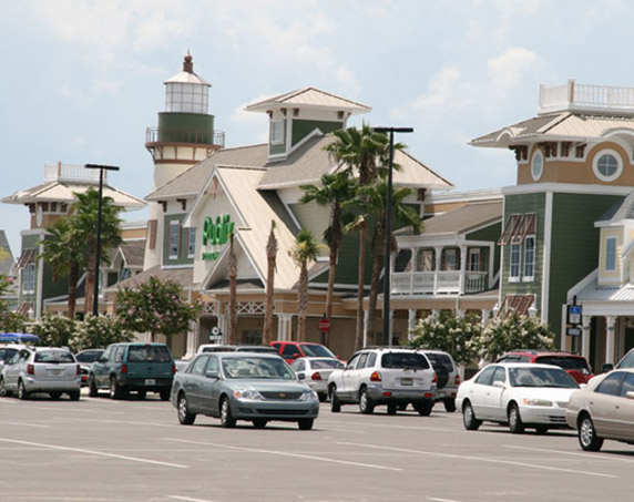 Exterior angled image of shops at Colony Plaza