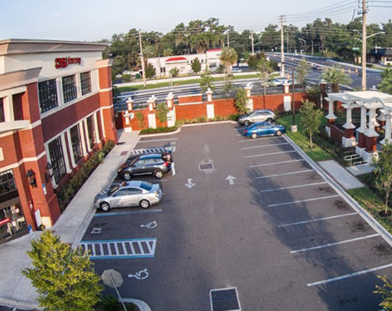 Aerial view of CVS building and parking lot