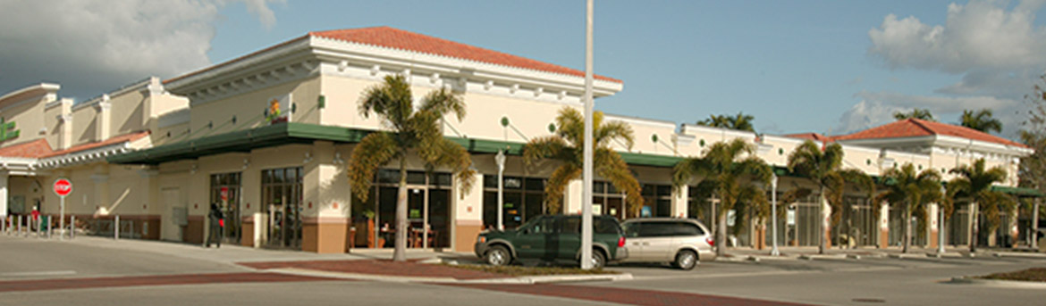 Exterior storefronts at First Street Village