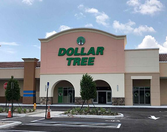 Exterior image of Dollar Tree building at the Gardens Promenade