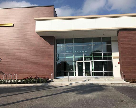 Exterior front entrance to LA Fitness in Boynton