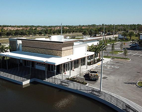 Storefront with lake view at Logans Landing