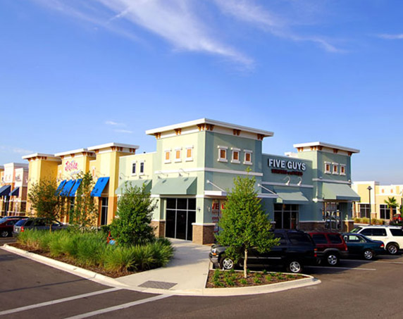 Exterior view of Five Guys building at Oakleaf Town Center