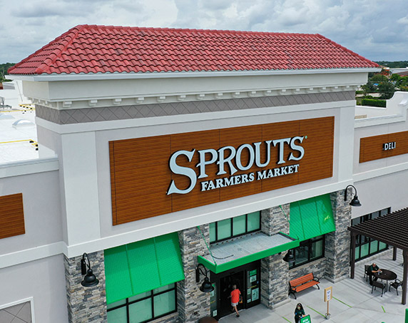 Exterior storefront close-up at Sprouts Farmers Market