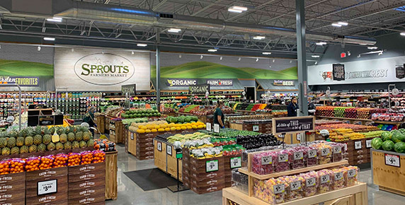 Interior image of produce department at Sprouts
