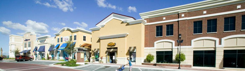 Multiple storefronts at Winder Garden Village