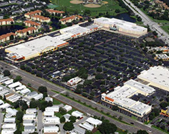 Aerial view of Woodlands Square Shopping Center