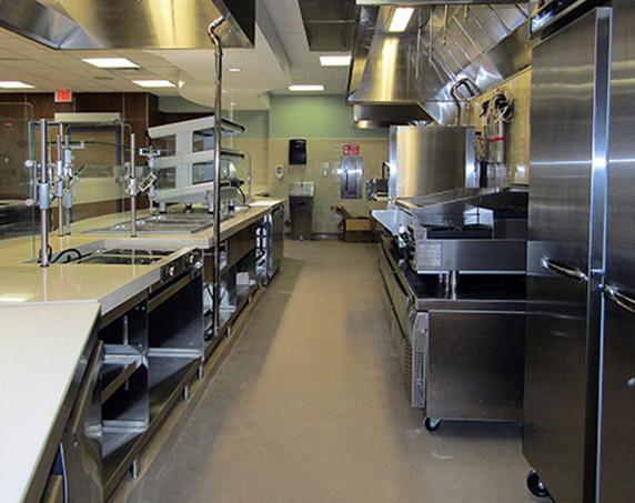 Interior kitchen serving counters