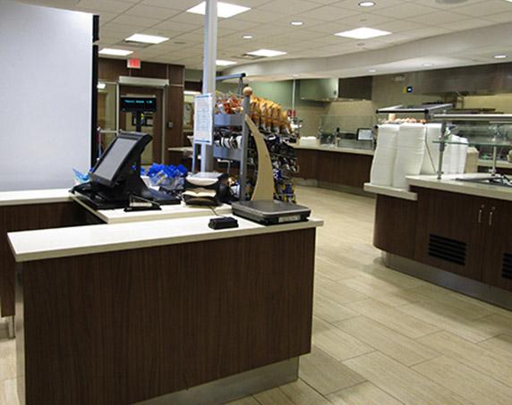 Interior cafeteria checkout counter