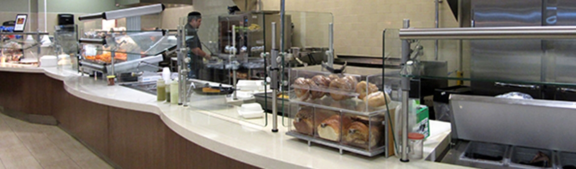 Interior cafeteria grab and go stations