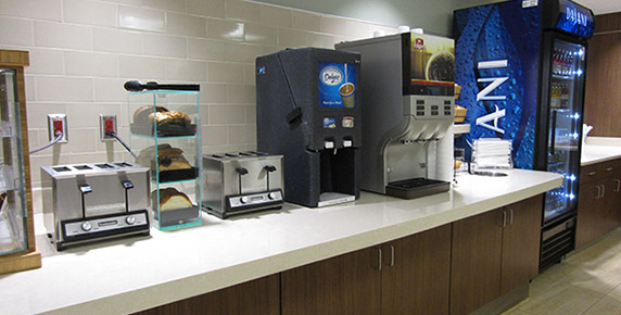 Cafeteria drink and toaster station