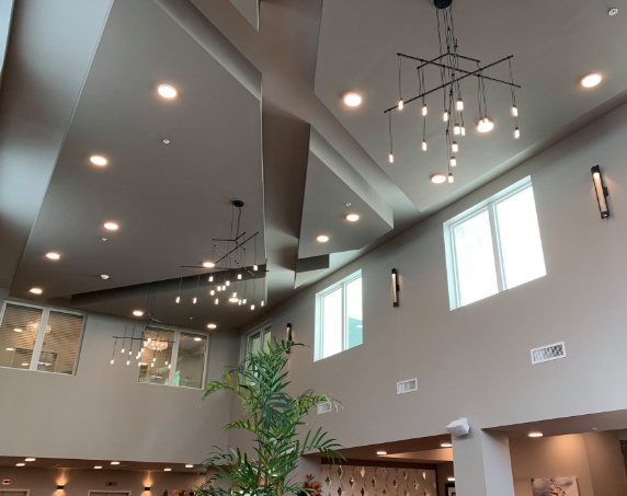 Interior view of the tall ceiling and lights in the lobby
